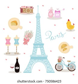 Фотообои Symbol of Paris, France with Eiffel tower, perfume, chicken, cheese, camera, wine bottle, bicycle with white background. All hand drawn object. Vector illustration.