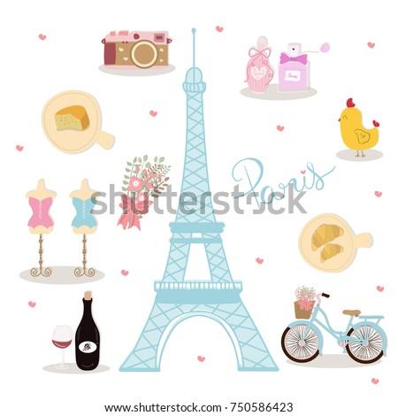 Symbol Paris France Eiffel Tower Perfume Stock Vector Royalty Free