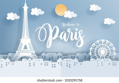 Symbol of Paris in paper cute style with city and Eiffel tower, Welcome to Paris, France. Vector illustration.