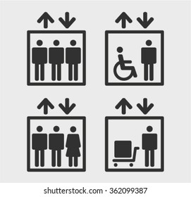 Symbol passenger, freight elevators and lifts for the disabled, set vector icons
