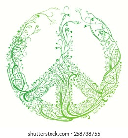 Symbol of peace. Beautiful pattern of green color.