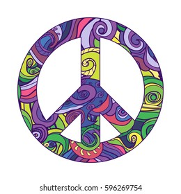 symbol of peace , vector icon. purple peace sign filled with pattern. Pacific.