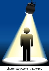 A symbol person stick figure shines in center stage in the spotlight on a blue background.