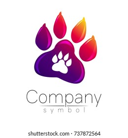 Symbol of pet paw. Animal sign for company, shop, web, medicine, veterinarian and clinic. Vector emblem dog foot. Vioet gradient logo. Bright modern logotype. Isolated on white background