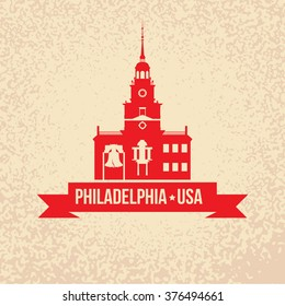 The symbol of Philadelphia, USA. The Liberty Bell is an iconic symbol of American independence and the Independence Hal