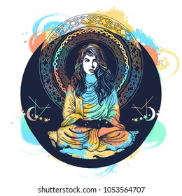 Symbol philosophy, astrology, magic, yoga. Meditating woman and crystal sphere tattoo and t-shirt design. Girl in lotus pose