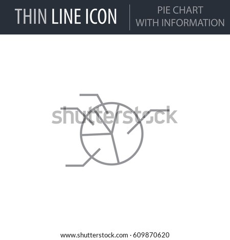 Symbol Pie Chart Information Thin Line Stock Vector Royalty Free
