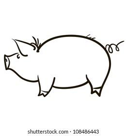 Symbol of a pig. A children's sketch