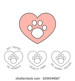 Symbol with pink heart and animal paw print. Animal cruelty free logo design. Not tested on animals,  Cruelty free sign.