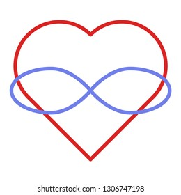 Symbol of polyamory. Heart and infinity. Endless love. White background and linear style. Red heart.