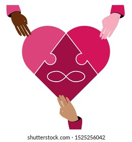 Symbol polyamory heart and the sign of infinity in the form of a puzzle. Three pieces of the puzzle and three hands of different races. White background