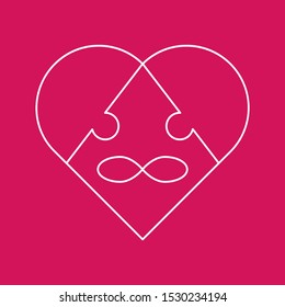 Symbol polyamory heart and the sign of infinity in the form of a puzzle. Three pieces of the puzzle. Pink background