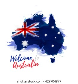 Symbol, poster, banner Australia. Map of Australia with the decoration of the national flag. Style watercolor drawing. Australia map with national flag. Vector.