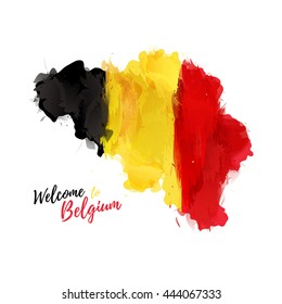 Symbol, poster, banner Belgium. Map of Belgium with the decoration of the national flag. Watercolor style drawing. Vector.