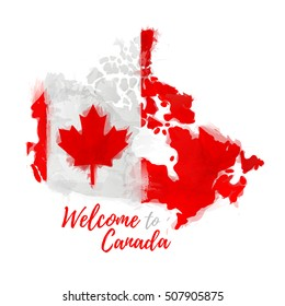 Symbol, poster, banner Canada. Map of Canada with the decoration of the national flag. Style watercolor drawing. Canadian flag with national flag. Vector.