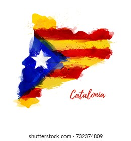 Symbol, poster, banner Catalonia. Map of Catalonia with the decoration of the national flag. Style watercolor drawing. Vector.