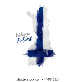 Symbol, poster, banner Finland. Map of Finland with the decoration of the national flag. The Finnish national flag in watercolor  style drawing.  Vector.