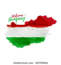 Symbol, poster, banner Hungary. Map of Hungary with the decoration of the national flag. Style watercolor drawing. Hungary map with national flag. Vector.