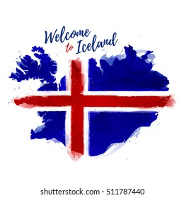 Symbol, poster, banner Iceland. Map of Iceland with the decoration of the national flag. Style watercolor drawing. Iceland map with national flag. Vector.