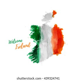 Symbol, poster, banner Ireland. Map of Ireland with the decoration of the national flag. Style watercolor drawing. Ireland map with national flag. Vector.