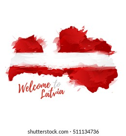 Symbol, poster, banner Latvia. Map of Latvia with the decoration of the national flag. Style watercolor drawing. Latvian map with national flag. Vector.
