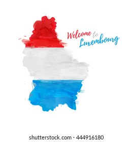 Symbol, poster, banner Luxembourg. Map of Luxembourg with the decoration of the national flag. Watercolor style drawing. Vector.
