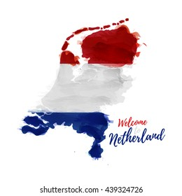 Symbol, poster, banner Netherlands. Map of Holland with the decoration of the national flag. Style watercolor drawing.  Vector.