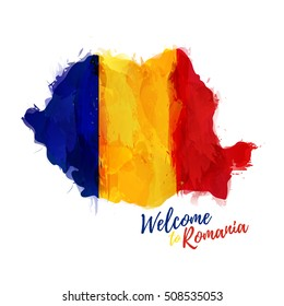 Symbol, poster, banner Romania. Silhouette Romanian map with the decoration of the national flag. Style watercolor drawing. Vector.