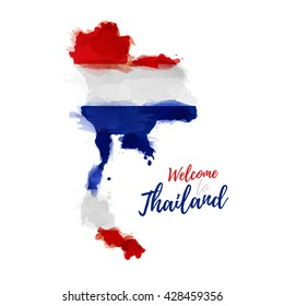 Symbol, poster, banner Thailand. Map of Thailand with the decoration of the national flag. Style watercolor drawing. Thailand map with national flag. Vector.