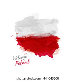 Symbol, poster, print, banner Poland. Map of Poland with the decoration of the national flag. The Polish national flag in watercolor  style drawing.  Vector.