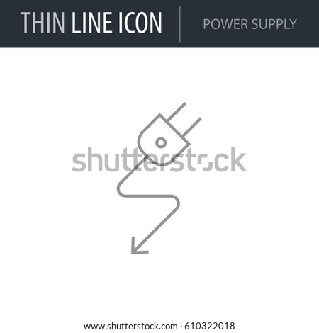 Symbol Power Supply Thin Line Icon Stock Vector Royalty Free