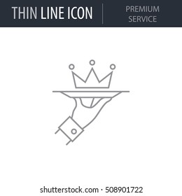 Symbol of Premium Service Thin line Icon of Business. Stroke Pictogram Graphic for Web Design. Quality Outline Vector Symbol Concept. Premium Mono Linear Beautiful Plain Laconic Logo