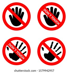 Symbol For Prohibition Don't Touch Icon.Signs Vector.