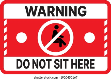 Symbol of prohibition of sitting, especially for people with disabilities