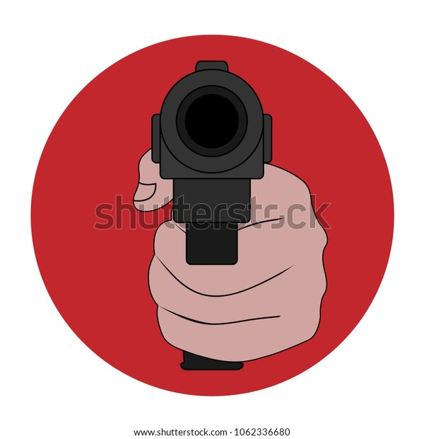 Symbol of the prohibition of weapons, terrorism and violence. Stop the gun. Vector illustration.