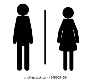Symbol for public toilets on white