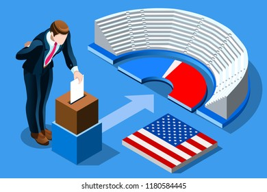 Symbol of republican government. Decision of voter. Democracy campaign. Choice of politics part, a young symbolic day. Election poll, ballot, Vote for presidential. Patriotism concept with characters.