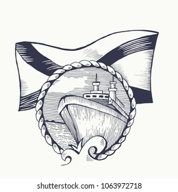Symbol of the Russian Navy. St. Andrew flag. The emblem with the rope. The ship floats on the waves. Vector illustration