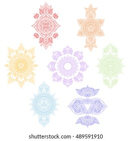 symbol Sahasrara for Henna Tattoo of Oriental, Buddhism, Hinduism, Arabic and Indian. Illustration of 7 Chakras Mandalas collection. Associated with Yoga and meditation for you design.
