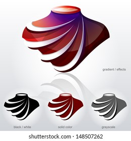 Symbol in shape of bust with diagonal arcs like fabric folds. Element for logos (icons, symbols, signs). Vector graphic about fashion, sewing, jewellery industry, accessories, luxury, tailoring, etc