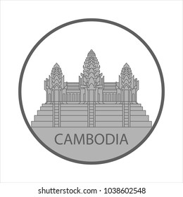 Symbol or sign Cambodia isolated on white background. Vector illustration