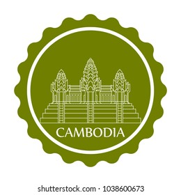 Symbol or sign Cambodia stamp isolated on white background. Vector illustration