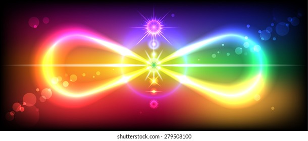 Symbol or sign of infinity with the image of the chakras on the beautiful, colorful background