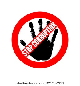 """Symbol or sign stop corruption. Red stamp with text """"stop corruption"""" over black hand corruption. Flat icon. Abstract vector illustration."""