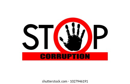"Symbol or sign stop corruption. Red stamp with text ""stop corruption"" over black hand corruption. Flat icon. Abstract vector illustration."