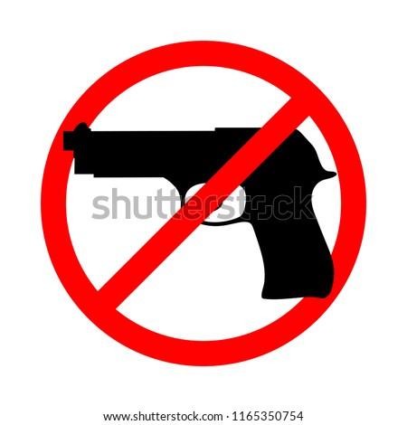 Symbol Sign Stop Guns Gun Red Stock Vector Royalty Free 1165350754