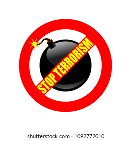 "Symbol or sign stop terrorism. Red prohibition sign over black bomb and text ""stop terrorism"". Abstract vector illustration."