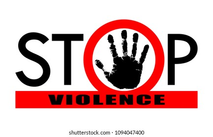 """Symbol or sign stop violence. Red prohibition sign over black hand and red line with text """"stop violence"""". Vector illustration."""