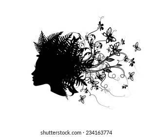 Symbol silhouette head girl with butterflies. Vector