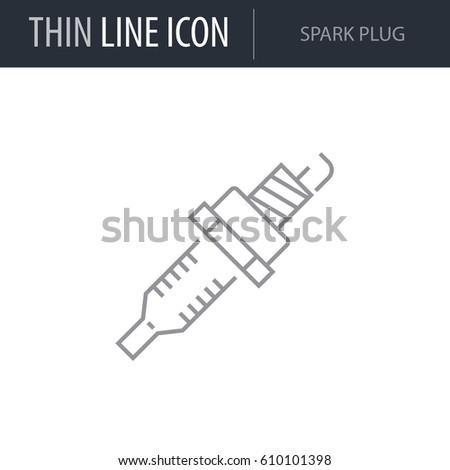 Symbol Spark Plug Thin Line Icon Stock Vector Royalty Free